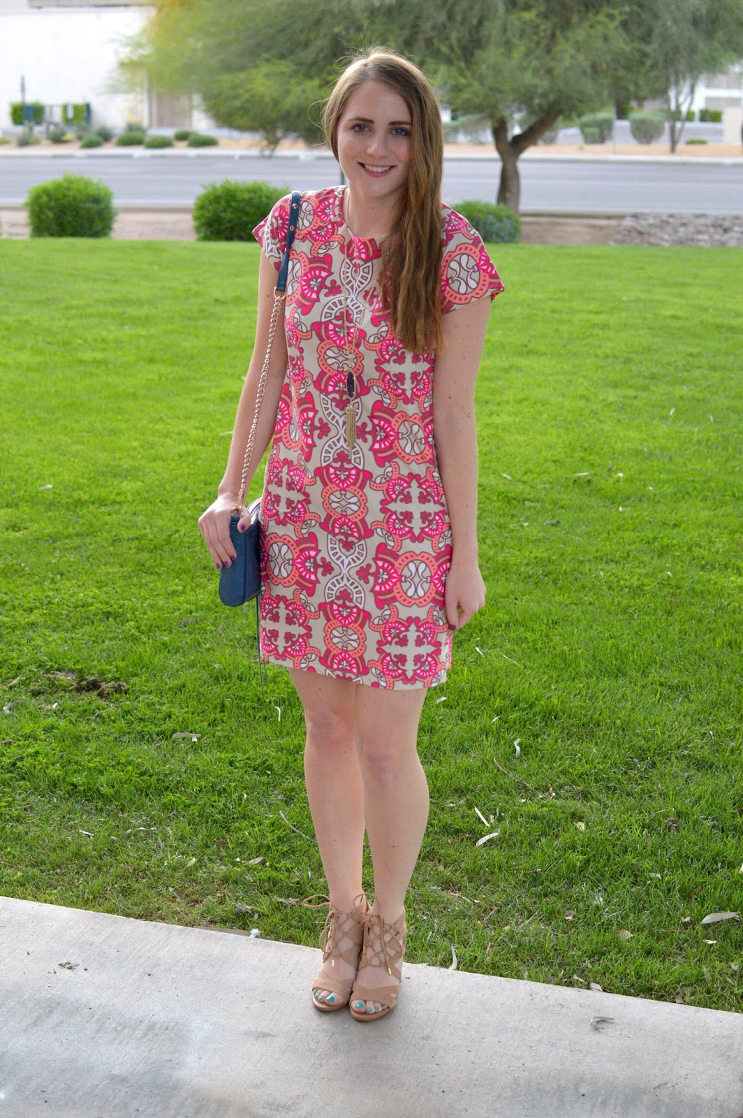 pink printed shift dress