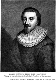 Woodcut depicting George Calvert, First Lord Baltimore, from A Short History of the English People, Vol. 3 (1903), pg. 1048.