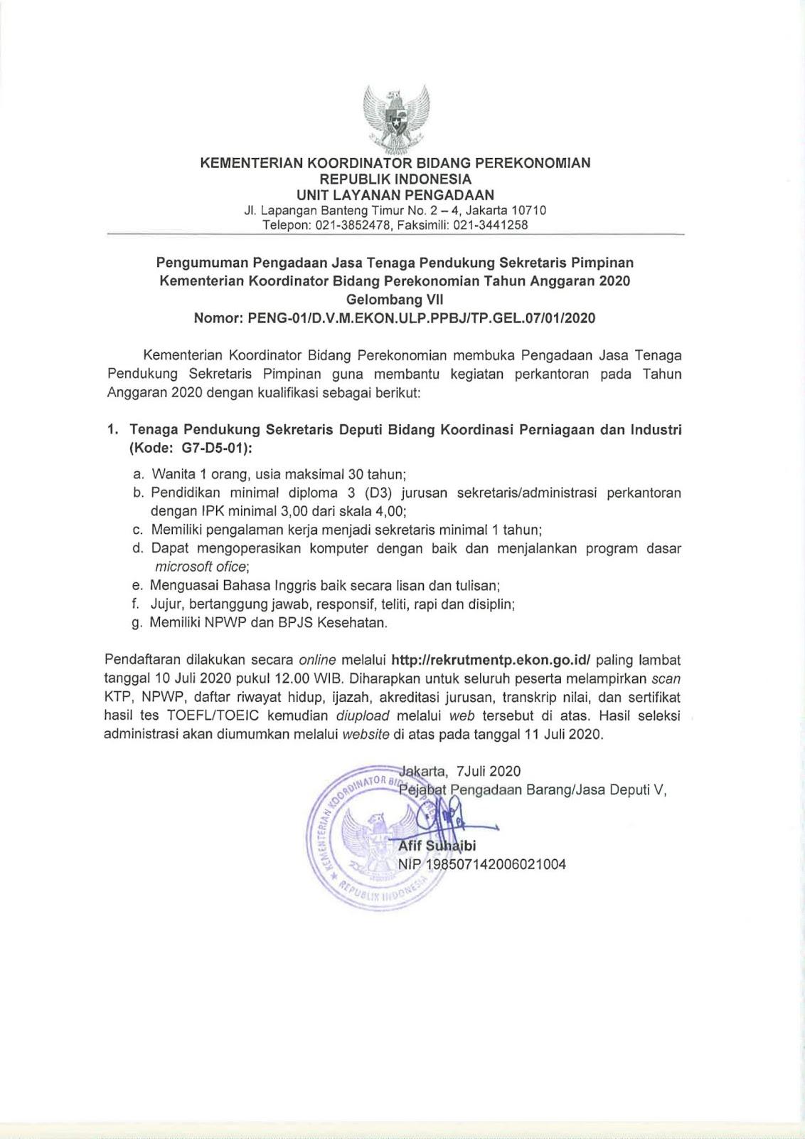 Lowongan Kerja Tenaga Pendukung Kementerian Koordinator Bidang Perekonomian Juli 2020