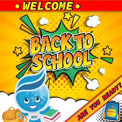 Illustrated comic style poster with cartoon call out boxes.  Text: Welcome Back to School.  Are you ready?  Image of Rio Salado Splash with backpack and books