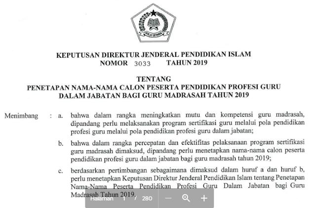 Daftar Nama Calon Peserta PPG Kemenag 2019