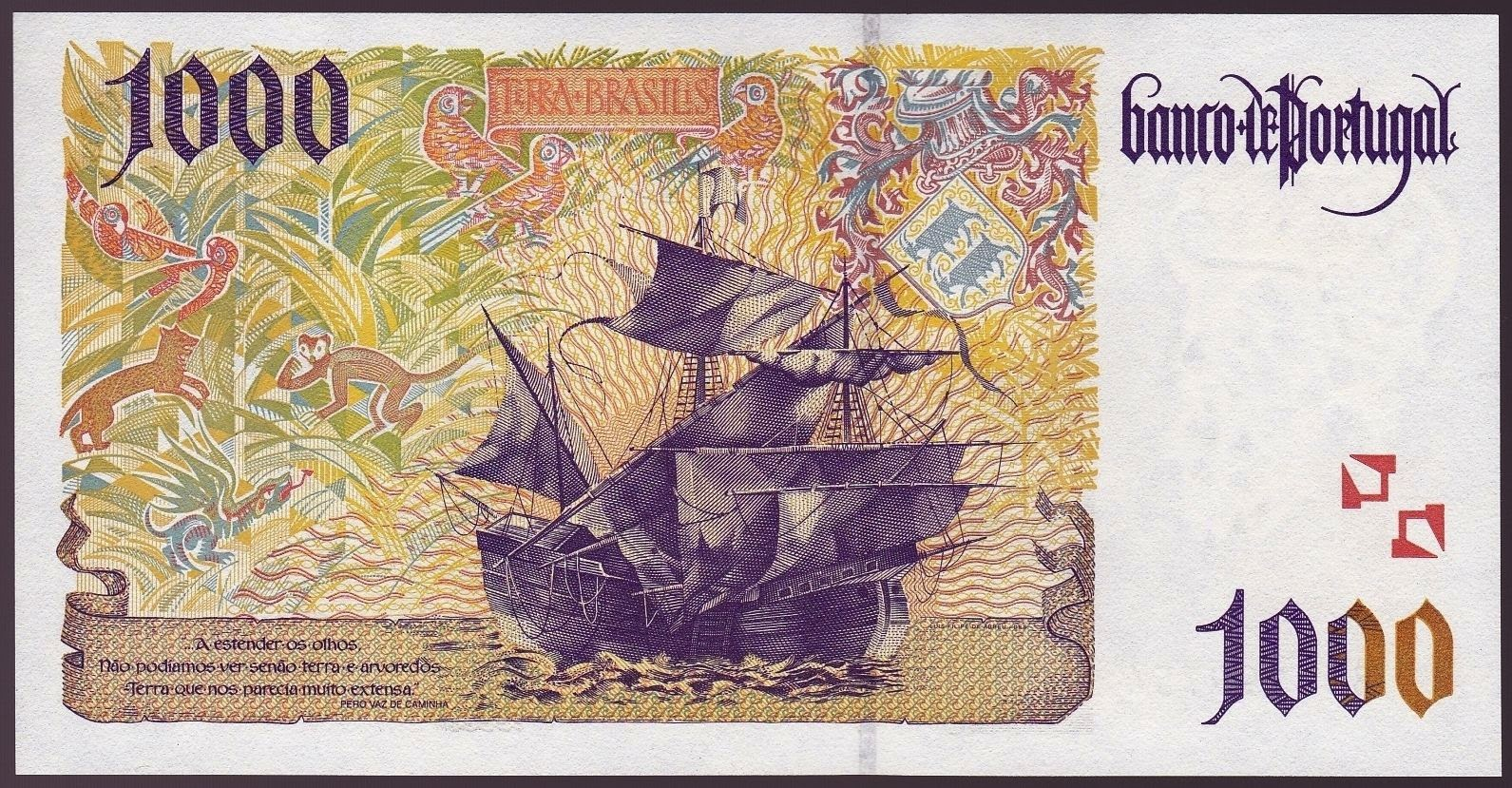 Portugal money currency 1000 Escudos banknote 2000 Portuguese Caravel