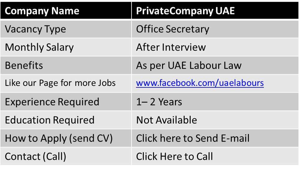 office secretary jobs in dubai