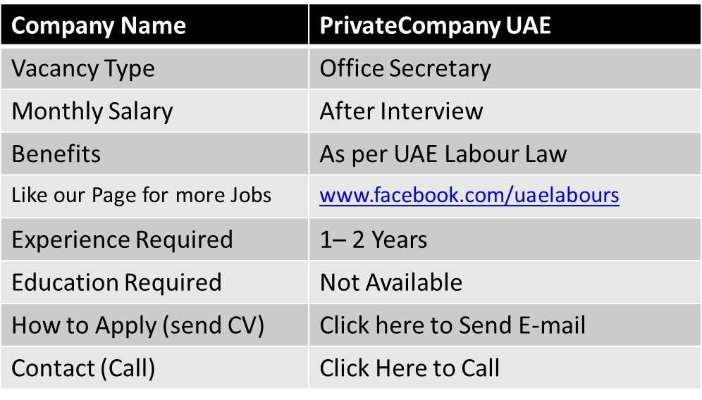 office secretary jobs in dubai