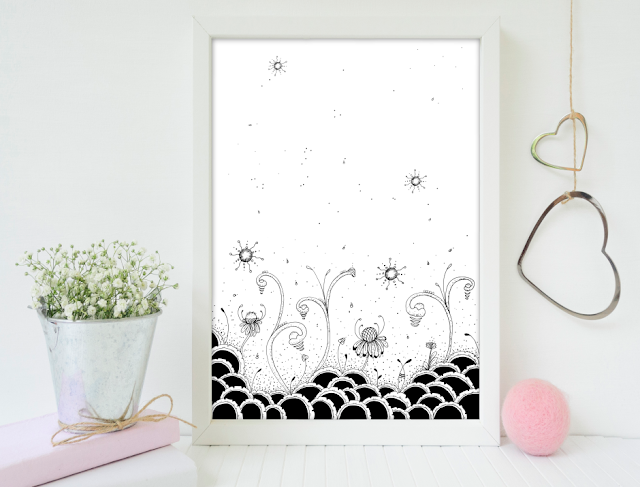 Black Doodle Forest Illustration