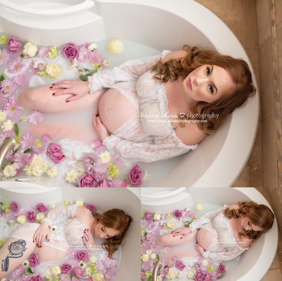 Maternity milk bath session Eugene, OR photographer