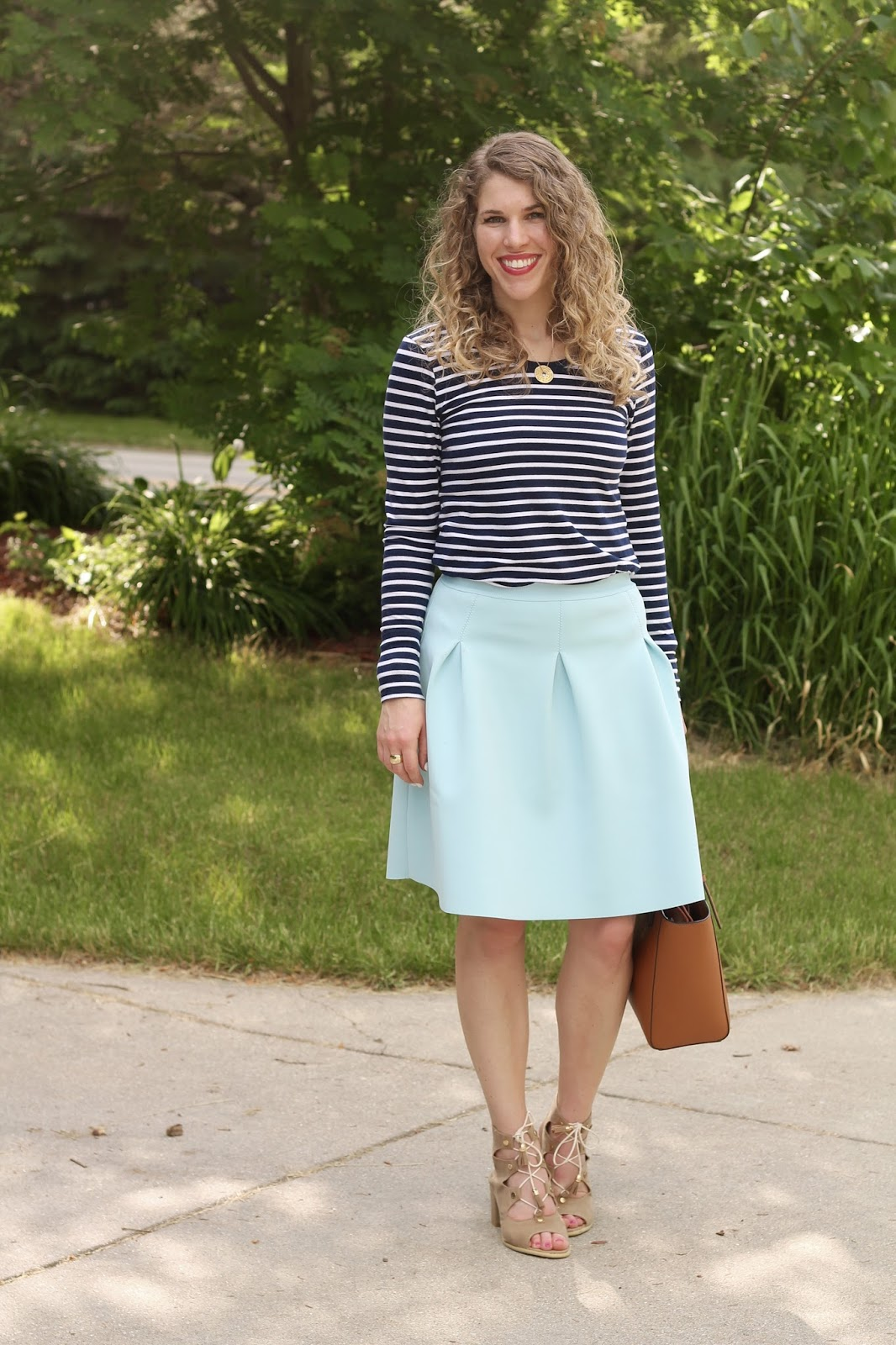 blue striped top, light blue scuba skirt, lace up sandals, Tory Burch tote