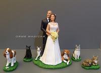 statuette cani e gatti torta nuziale amanti animali domestici realistici orme magiche