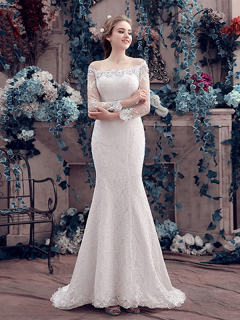 Delicate Off-The-Shoulder Long Sleeves Lace Sweep Train Mermaid Wedding Dress (11341776)