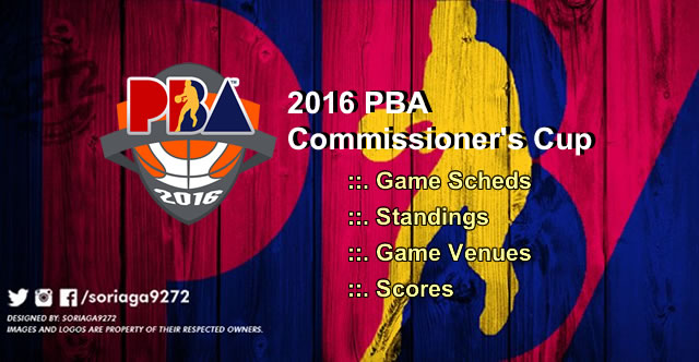 List of Game Schedules, Team Standings, Scores: 2016 PBA Commissioner's Cup