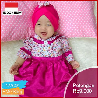 NAG231 Gamis Bayi Anak Perempuan Setelan Dress Blooming Murah Bmgshop