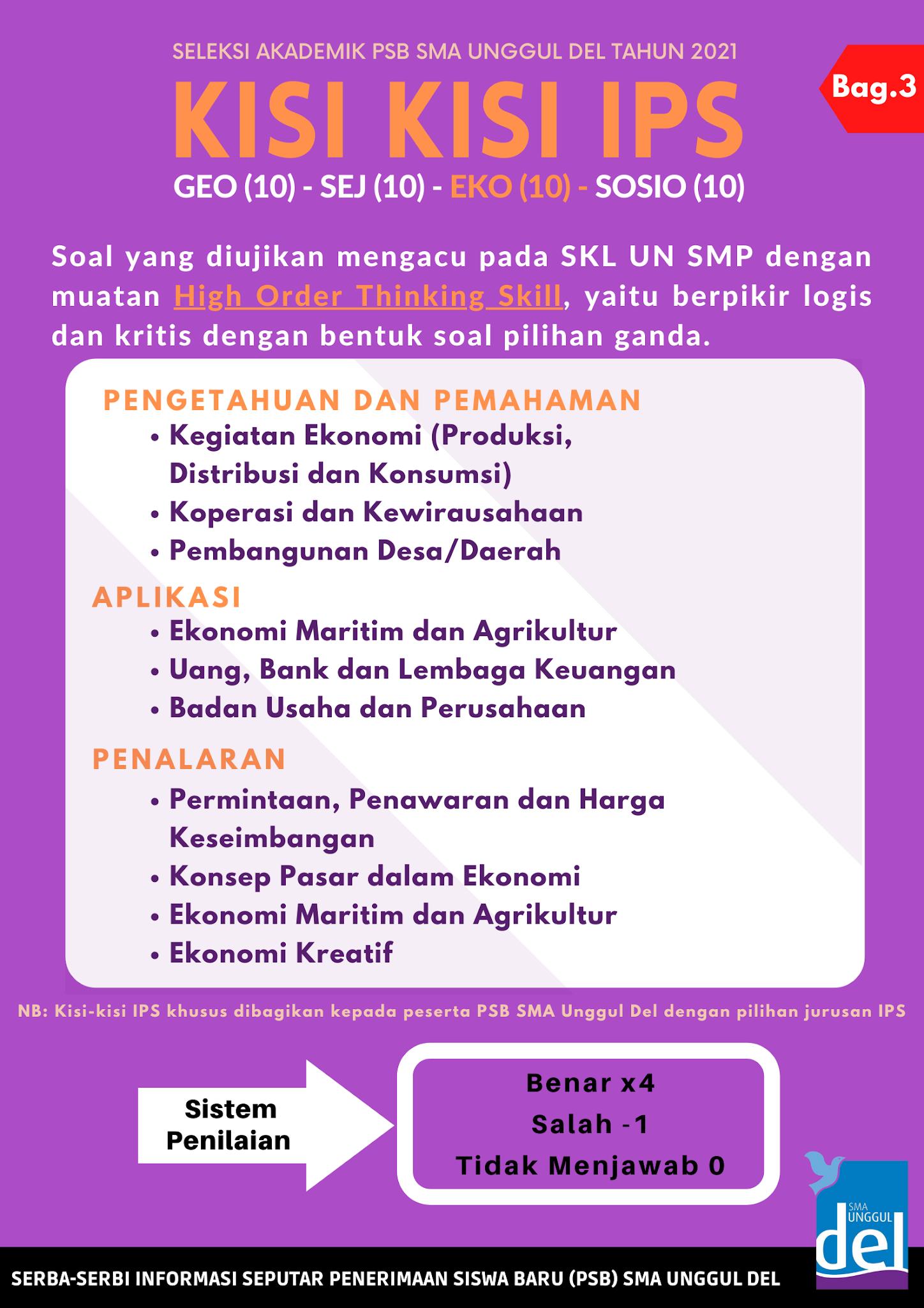 Download Lengkap Kisi-kisi dan Model Soal Seleksi Masuk SMA Unggul DEL Laguboti Tahun 2021