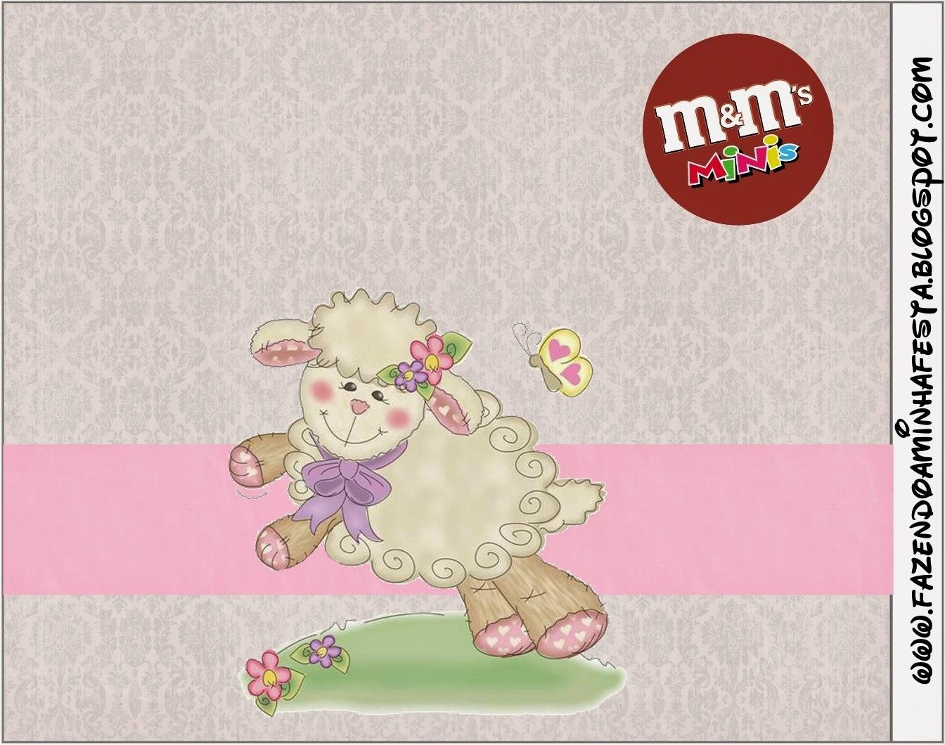 Etiqueta M&;M de Ovejita en Fondo Rosa para imprimir gratis.