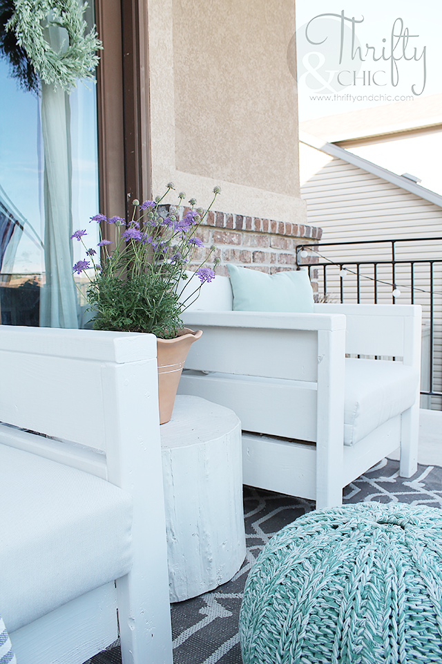 DIY outdoor porch or patio furniture. Learn how to make these chairs for about $20 each!  Porch and patio decor and decorating ideas