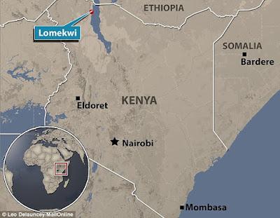 Mappa del sito di Lomekwi, vicino al lago Turkana