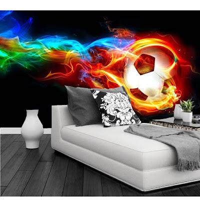 cool tapet fotboll flames eld fototapet ungdomsrum killtapet häftig ungdomstapet