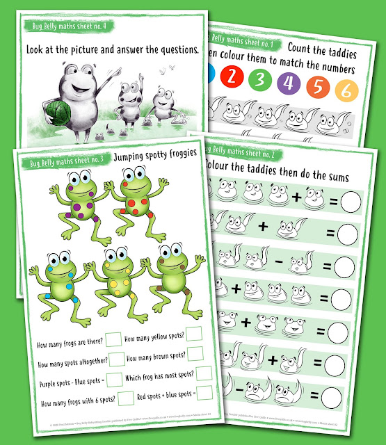 Image showing 4 pages from the bug Belly frog MAths activity sheets