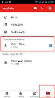 cara lihat file offline youtube
