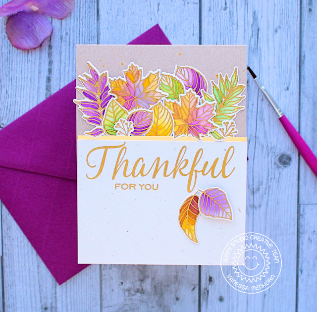 Sunny Studio Stamps: Elegant Leaves Thanksful Card by Vanessa Menhorn