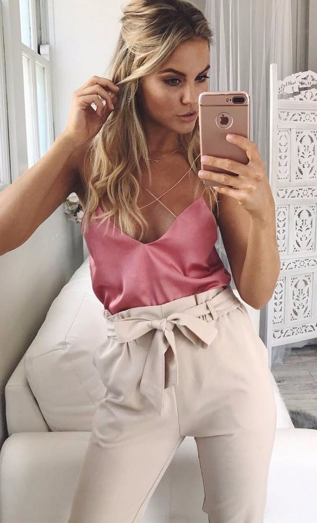silk strappy cami + nude high waist pants / summer office attire