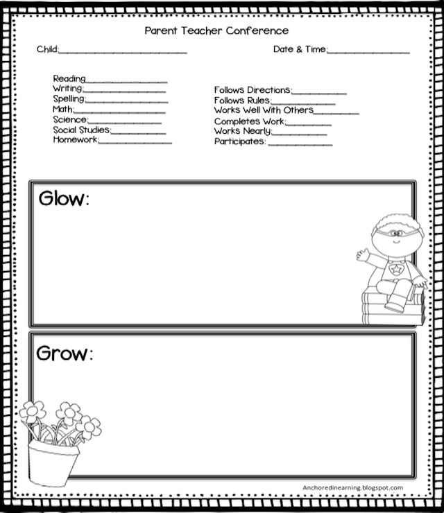 Anchored in learning you oughta know august blog hop for Parent teacher meeting report template