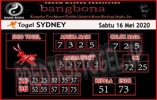 Prediksi Togel Sydney Sabtu 16 Mei 2020 - Bang Bona