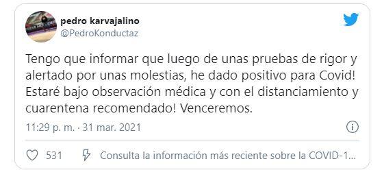 Pedro Carvajalino se nos va | Agarró el Virus Chino en alguna Coronaparty