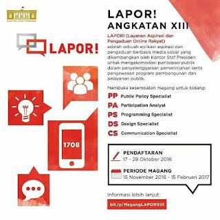 Pendaftaran Program Magang LAPOR dari Staf Presiden Republik Indonesia
