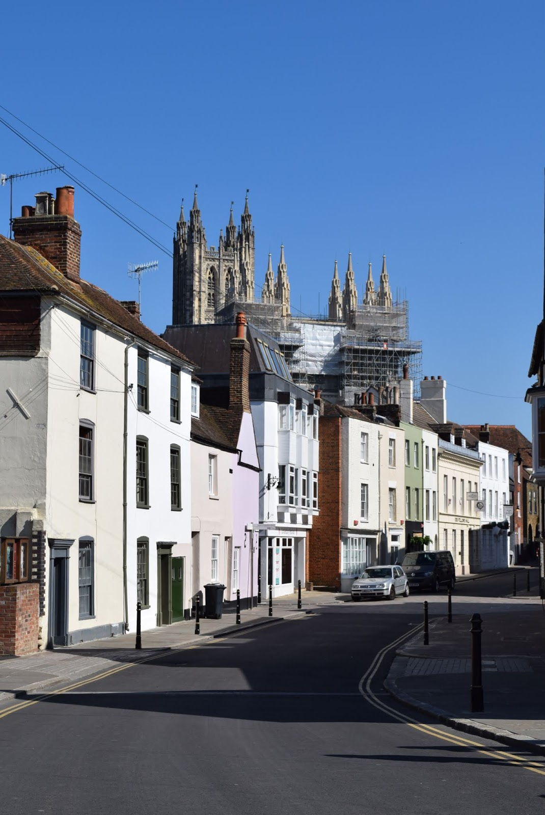 medieval streets in canterbury in spring