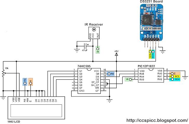 PIC12F1822 + DS3231 + Car MP3 remote control circuit