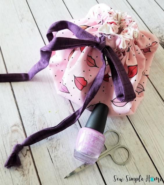 makeup bag with drawstrings