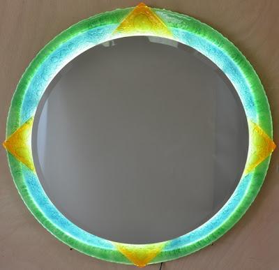 Miroir fusing lumineux (led), verre de couleur