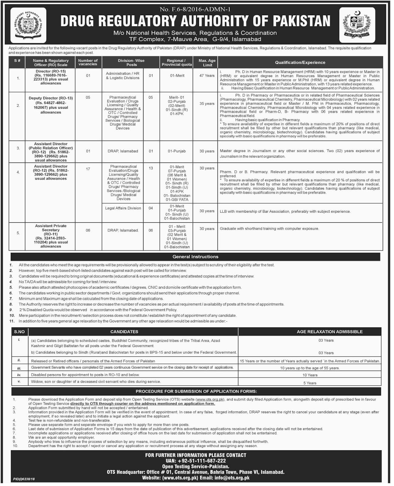 Drug Regulatory Authority of Pakistan DRAP Jobs 2019