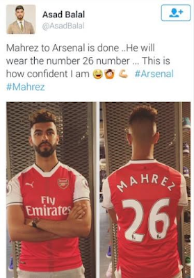 Arsenal mocked on Twitter after player of the year Riyad Mahrez signs new deal with Leicester city