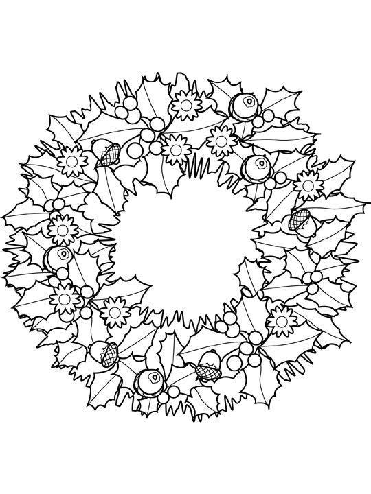 Hình tô màu vòng hoa Noel