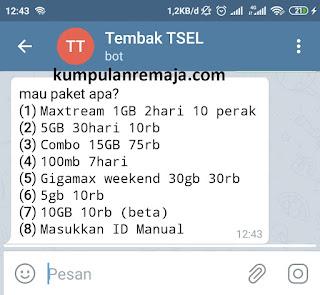 Paket Internet Murah di bot Telegaram