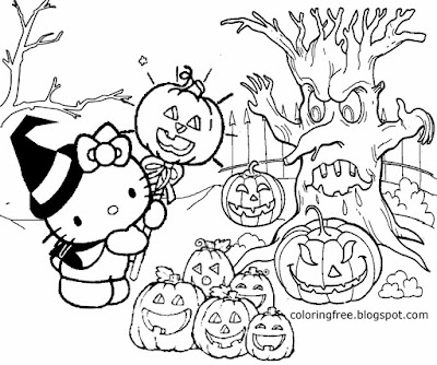 Jack O'Lantern old woodland graveyard Hello Kitty Halloween coloring pages for teenagers to printout
