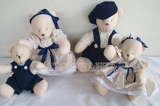 Familia de Ursos Azul marinho e Bege!!!!