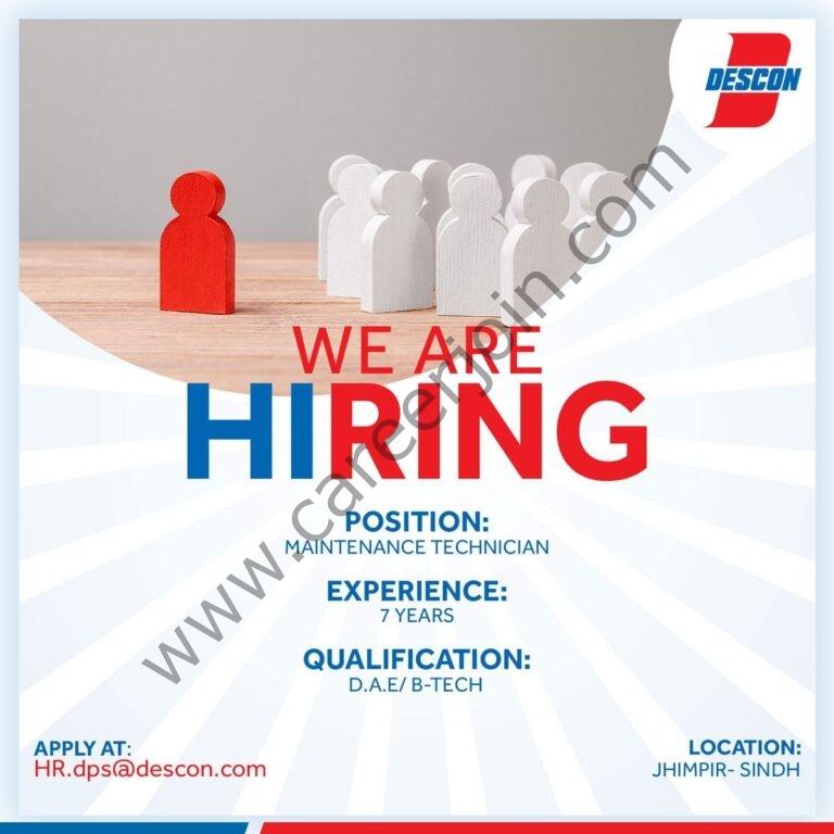 Descon Pakistan Jobs 2021 Maintenance Technician