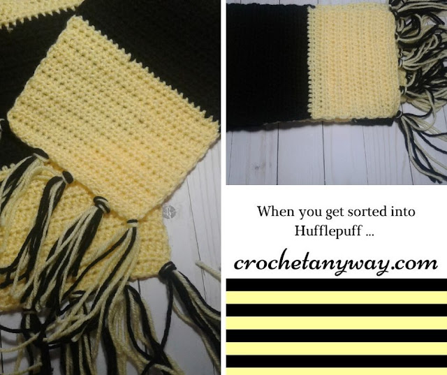 crochet black and yellow scarf