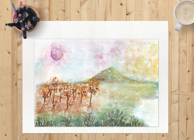 Watercolor Pink Moon Landscape
