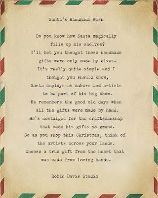 Santa's Handmade Wish Poem by Robin Davis Studio
