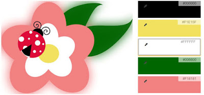 five color palette of black, white, coral, yellow, green