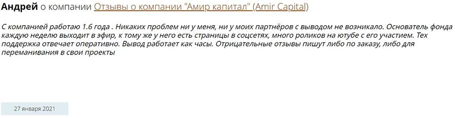 Amir Capital отзывы