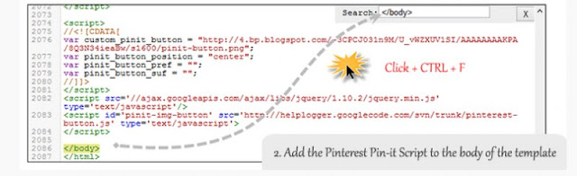 How to Add a Cool Pinterest Pin it Mouseover Button Effects on Blogger/Blogspot Image