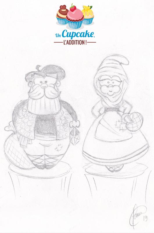 Croquis préliminaire - Cupcakes « Olentzero & Mari Domingi »