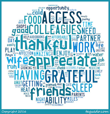 Word cloud of the January's gratitude notes in the shape of a circle.