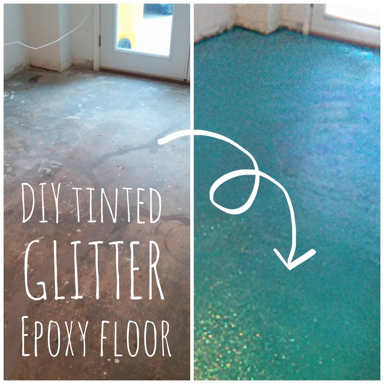 Lola Tangled DIY Turquoise Glitter Epoxy Floor - Garage floor tracks