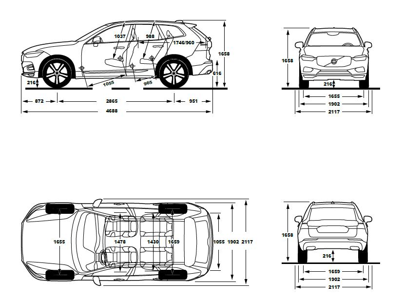 new volvo xc60 2017 dimensions automobile news. Black Bedroom Furniture Sets. Home Design Ideas