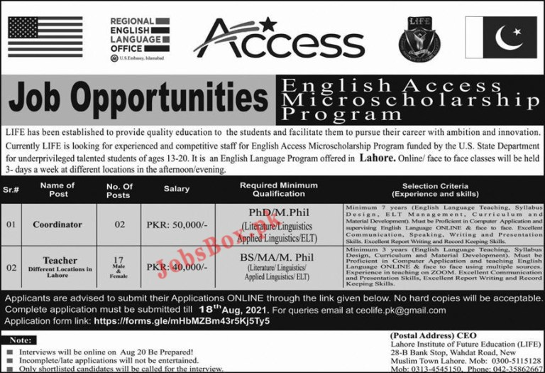 Lahore Institute of Future Education LIFE Jobs 2021, Download Form at https://forms.gle/mHbMZBm43r5Kj5Ty5